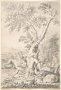 A Man under a Tree Bitten by a Lion while his Horse Escapes