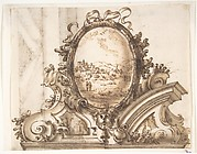 Design for an Overdoor Decoration with Variant (recto); Sketch of a Marbled Wall (verso)