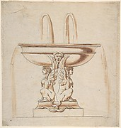Design for a Fountain: Bowl Supported by Two Sphynxes