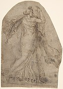 Female Figure in Antique Style Dress, Striding to the Right