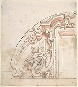 Design for One Half of a Lunette with a Window and Putto at Left