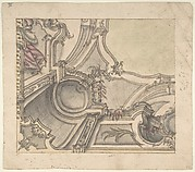 One Quarter of a Design for a Painted Ceiling (recto); Frieze with Putto, Vases,and Other Decorations (verso)