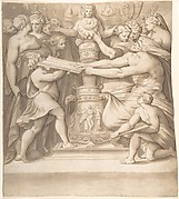 Figures Adoring a Statue of the