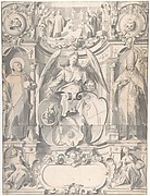 Design for a Stained Glass Window or  Frontispiece with the Arms of a Cleric