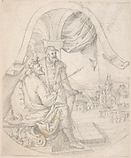 Design for an Illustration: King and Courtier against a Landscape