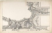 Design for an Elaborate Cornice with a Cartouche and Figures Supporting a Ceiling, with Two Arched Openings.