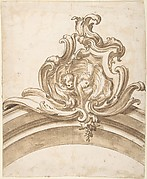Design for a Cartouche with Two Putti Heads inside a Shell, Atop of an Arch