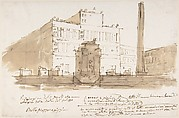 Stage design: piazza with a building, an obelisk, and a monument. Building and monument with numbers referring to inscription below.