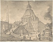 Architectural Fantasy: Temple-like Building with Colonnades, a Monumental Staircase, and a Burnt Offering (Sacrifice) in the Foreground