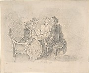 Four Ladies Sitting around a Table Occupied with Needlework, Reading, and Writing; verso: Study of a Woman with Needlework