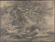 Two Men Resting by a Lake (recto); Studies for Soldiers Mounted on Horseback (verso)