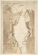 Design for a Stage Set with Two Thrones (Recto); Landscape (Verso)