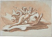 A Sea Nymph and a Triton on a Dolphin