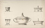 Covered Dish, Two Egg Cups, and Two Salt Cellars