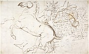 Rearing Horse and Trainer, drawn on a letter. Verso: Studies of Women and Children