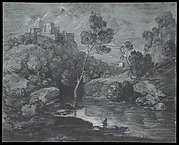 Mountain Landscape with a Castle and a Boatman