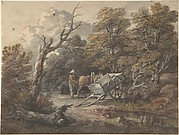 Woodland Scene with a Peasant, a Horse, and a Cart