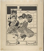 Three Dancing Women in a Restaurant Watched by Cupid