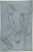 Seated Male Nude Holding a Staff