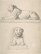 Classical Sculpture of a Lion, Front and Side Views