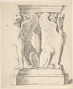 Sketch of a Classical Pedestal with Griffins