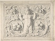 Antique Roman Sculpture with Nude Winged Boy at the Center and Leaves and Vines