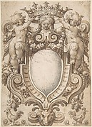 Coat of Arms (blank) with Two Putti Holding a Crown