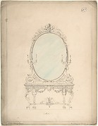 Design for an Oval Mirror over a Side Table