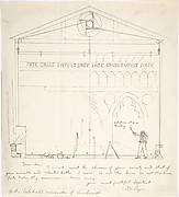 Letter with Sketch of Artist Painting Stage Scenery