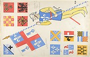 Studies for coats of arms and theatrical costume for a soldier carrying a banner