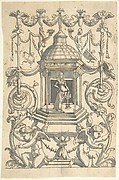 Grotesque with a Female Figure (Minerva?) in a Temple-like Structure with a Cupola