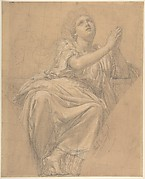 Allegorical Figure of the City of Piacenza, for a Pendentive in the Chapel of St. Roch, Saint-Sulpice, Paris (recto); Studies for the Same Figure, squared in graphite (verso)