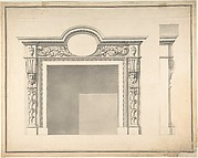 Design for a Fireplace with Frontal and Profile Views