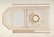 Design for Ceiling in Four Parts, One Decorated with a Compass Motif, in Rust and Olive Green, Moorish Motifs