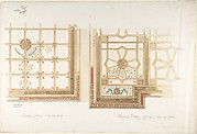 Design for Library or Dining Room Ceiling, Coffered and Painted Rust and Olive Green