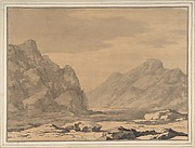 Landscape with Riverbed and Mountains