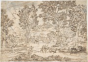 Sunrise (recto); Landscape with Figures (verso)