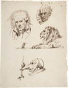 Sheet of Studies:  Three Male Heads, a Lion and a Mouse