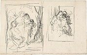 Two studies for a figure composition,  including three women and a child