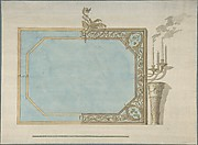 Design for a Oblong Mirror with Sconces