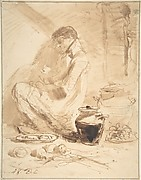 Man Sitting on the Ground with Jars and Food