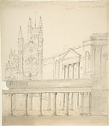 View of the Abbey and Great Pump Room at Bath, Through the Colonnade Added by Thomas Baldwin, 1786-9