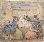 Two Ladies Being Shown Fabric in a Dress Shop