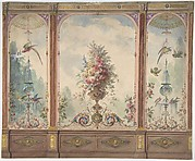 Design for a Wall with a Flower Vase, Birds, Two Gold Fish and Globe Fountains