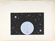 Design for Stage Set, Bead Curtain Moon Surrounded by Stars on Black Ground, for