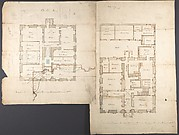 Studies of the Pavilion at Fonthill, Wiltshire and Plans of the Ground and First Floors (recto); Studies for the Pavilion in Tudor-Gothic Style (verso)