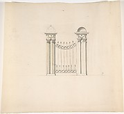 Design for Gate Piers with Paired Pilasters and Domed Caps, and a Gate