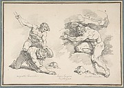 Hercules and Cacus, after Annibale Carracci and the Destruction of Enceladus, after Agostino Carracci