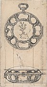 Design for a Gold Watchcase Showing Front and Elevation