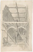 Design for a Tudor Paneled Hall and Staircase